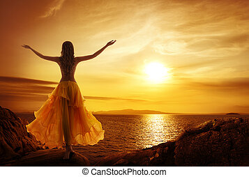 Calm Woman Meditating on Sunset, Open Arms Pose - Calm Woman...