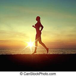Calm woman running on the tropical beach