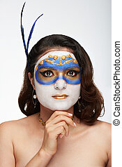 calm woman with painted face