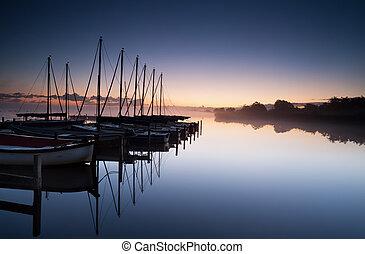 yacht harbor at sunrise