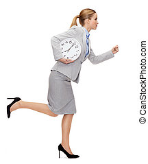 calm young businesswoman with clock running - business, time...