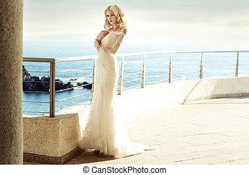 calma, biondo, sposa, attesa, per, lei, marito