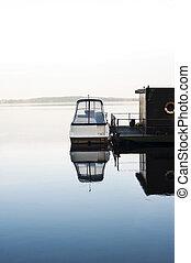 calma, casa flotante, lago, barco, mañana