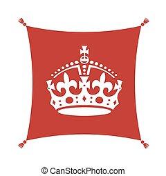 calma, corona, retener, símbolo, cojín