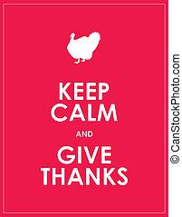 calma, custodire, ringraziamento, fondo, dare