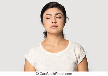 calma, indio, aire, niña, medite, fresco, respiración
