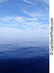calma, mar, agua azul, océano, cielo, horizonte, scenics