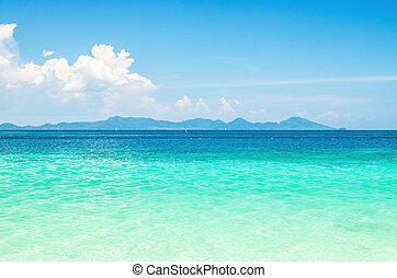 calma, mare, oceano, blu, cielo, fondo