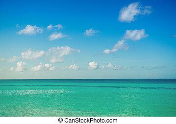 calma, mare, oceano, blu, nuvoloso, sky., horizon., pittoresco, marina