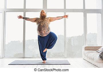 calma, meditación, hombre gordo, relajante