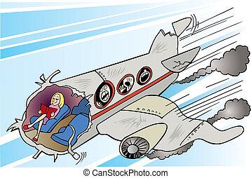 calma, ragazza, e, aereo, frantumare