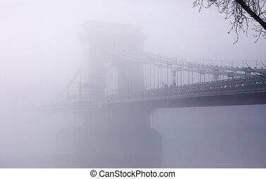 calma, scena, di, il, ponte