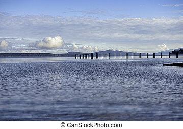 calma, vista oceánica, de, el, ladysmith, bahía, en, isla de vancouver, ac, canadá