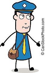 calmamente, carteiro, mensageiro, -, ilustração, falando, vetorial, sujeito, caricatura
