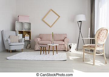 calmante, soggiorno, decorazione