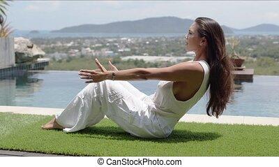 calme, côte, contre, yoga, poolside, équilibrage, asana, ...