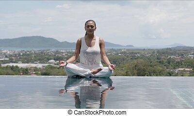 calme, contre, lotus, yoga, recours, attitude, femme,...