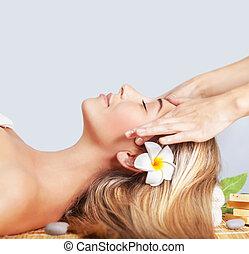 calme, femme, masage, apprécier