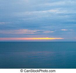 calme, matin, nuageux, mer