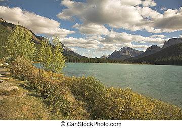 calme, montagne, lake.