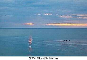 calme, nuageux, mer, matin