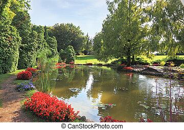 calme, pittoresque, étang