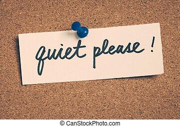 calme, s'il vous plaît