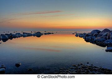 calmness - sunset at baltic sea coast.