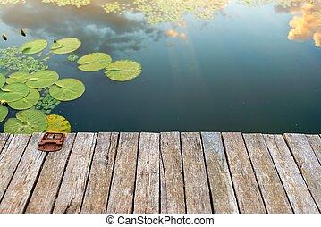 calmo, lagoa, lugar