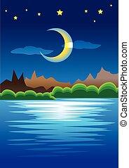 calmo, natural, cena, de, montanhas, contra, lua crescente,...