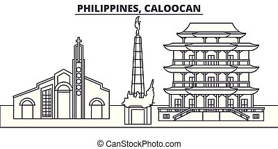 caloocan, ville, philippines, illustration., paysage., repères, célèbre, horizon, vecteur, vues, cityscape, ligne, linéaire