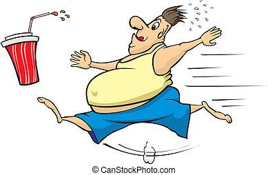 caloría, bebida, perseguir, hombre gordo