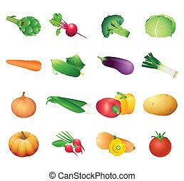 caloría, tabla, vegetales