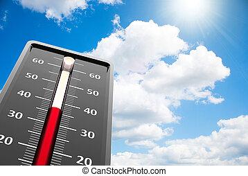 calor, cielo, primer plano, termómetro