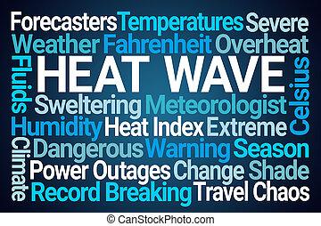 calor, palavra, nuvem, onda