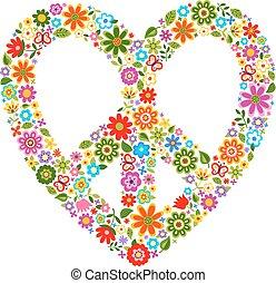 calor, paz, padrão floral, símbolo