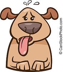 calor, perro, humor, ilustración, caricatura