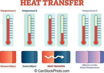 calor, transferência, física, cartaz, vetorial, ilustração,...