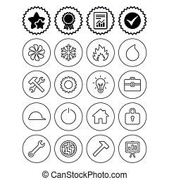 calor, ventilación, condicionamiento, icons., aire