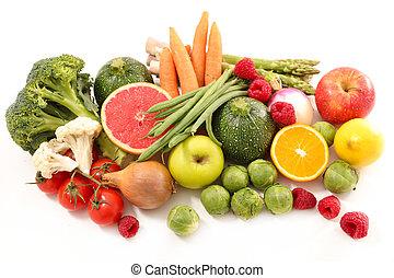 caloria, conceito, vegetal, fruta, baixo
