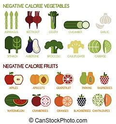 caloria, verdura, fru, negativo