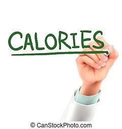 calorias, doutor, palavra, escrita
