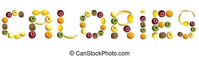 calorias, palavra, feito, de, frutas
