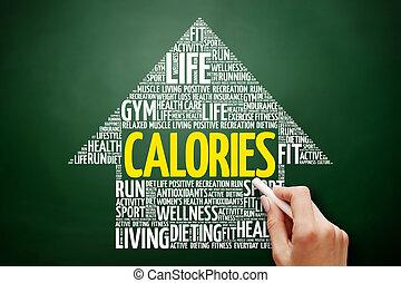 calorias, palavra, seta, nuvem