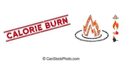 calorie, emplacement, mosaïque, timbre, détresse, brulure, brûler, lignes
