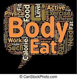 Calorie requirements for the different type of body characteristics text background wordcloud concept