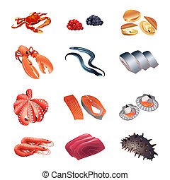 Calorie table fish and seafood - Set of colorful isolated ...