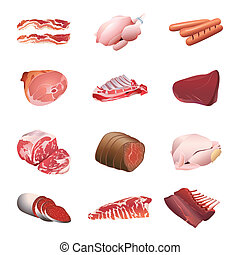 Calorie table meat and poultry - Set of colorful isolated...