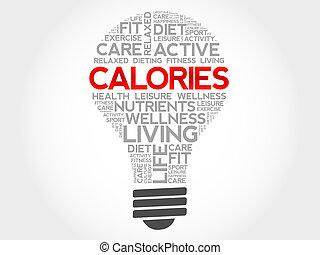 CALORIES bulb word cloud, health concept