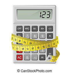 Calories counting. - White calculator with measuring tape as...